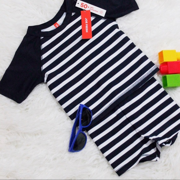 2967862ce5 Joe Fresh Swim | New Baby Boy Navy Striped Rashguard Set | Poshmark